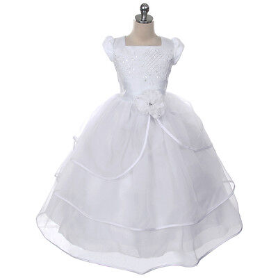 White Flower Girl Dress Bridesmaid Formal Wedding Birthday Party Pageant Ball