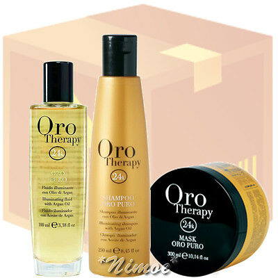 Oro Puro Therapy Luxury Kit ® box 6 pcs x 3 products Gold Fluid + Shampoo + Mask