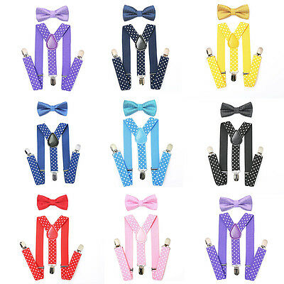 New Baby Boys Kids Dot Suspender Bow Tie Matching Set Tuxedo Wedding Suit Party