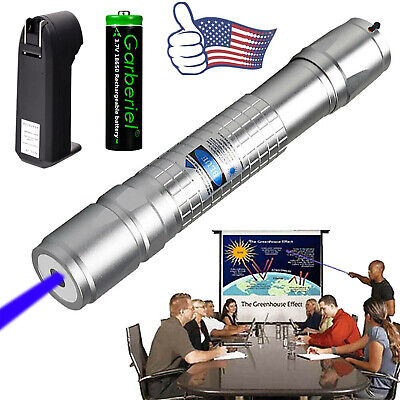 Military Grade 405nm Blue Purple Laser Pointer Pen Power Visible Beam Light USA