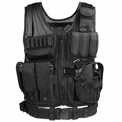 Black Tactical Vest  Molle For Hunting Police Swat With Holster Pouch Carrier