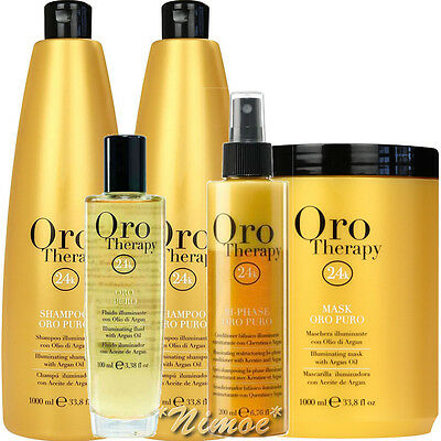 Oro Puro Therapy Gold Kit ® 2 Shampoo + 1 Mask + 1 Bi-Phase + Illuminating Fluid