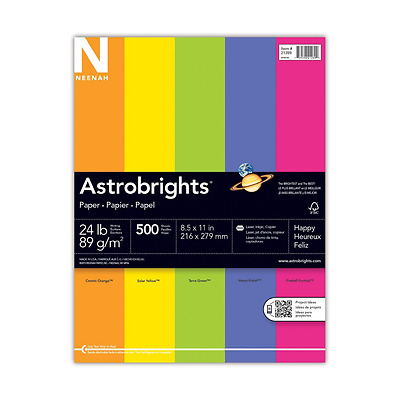 Neenah Astrobrights Premium Color Paper Assortment, 24 lb, 8.5 x 11 Inches, 500