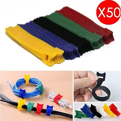 50X Reusable Nylon Strap Hook and Loop Network Cable Cord Ties Tidy Organiser UK