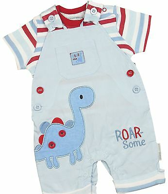 BabyPrem Boys Baby Clothes 2 Piece Outfit Dinosaur T-Shirt & Dungaree Set NB-6m