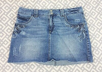 Girls Limited Too Blue Jeans Skort Shorts Skirt Plus Size 18 18.5 Rhinestones
