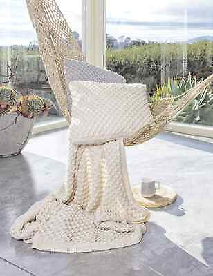 Cream Popcorn Textured Natural Cotton Knit Designer Throw Rug Indus Design