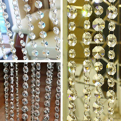 1M Chandelier Clear Octagon Lamp Prism Bead Chain Wedding Garland Pendant Top