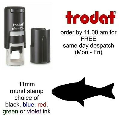 Fish rubber Stamp 4612 Self Inking cafe chip restaurant bar pub Loyalty Card