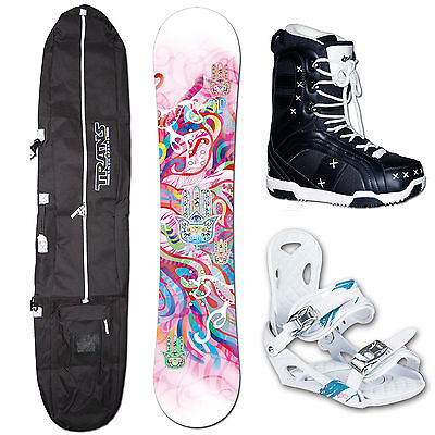 Snowboard 540 Peace White 2014 ~ 151 Cm + Elfgen Eco Bindung M + Bag + Boots