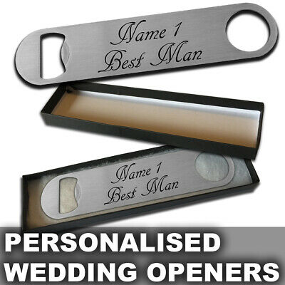 Personalised Steel Bottle Opener - Wedding Thank You Favour - Optional Gift Box