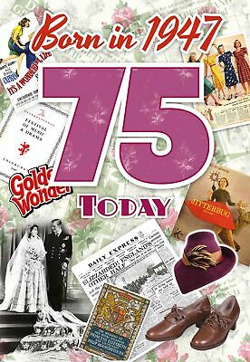 75th Birthday Card 1943 Year You Were Born Female Facts Inside