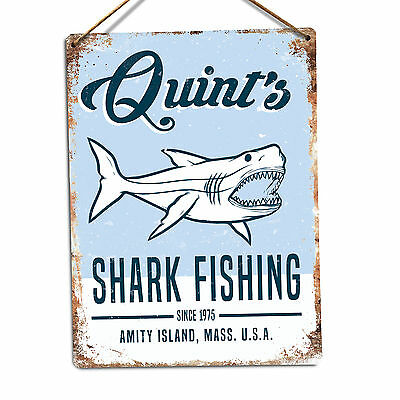 WTF | Quint's Shark Fishing | Metal Wall Sign Plaque Art. Jaws 80's Movie Poster