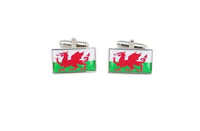 Wales Flag Cufflinks with free organza pouch