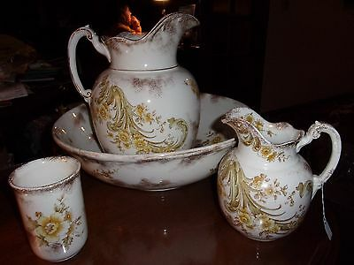 4pc Maddock's Lamberton Works Royal Porcelain Wash Basin 2 Pitchers & Cup