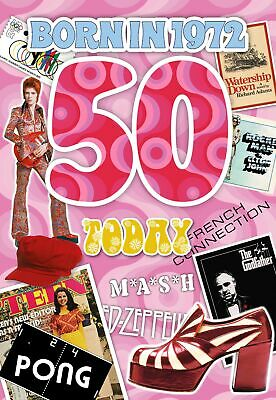 50th Birthday Card 1968 Year You Were Born Female Facts Inside