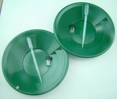 """Lot of 2 Green 8"""" Double Riffle Gold Pans - 2 Bubble Snuffers - 2 Gold Vials"""