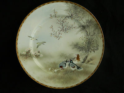 Antique Japanese eggshell pottery plate with hand painted birds Kutani