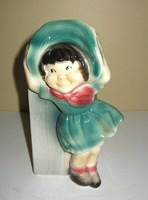 Vintage Royal Copley Girl In Teal Dress and Bonnet  Wall Pocket/Planter