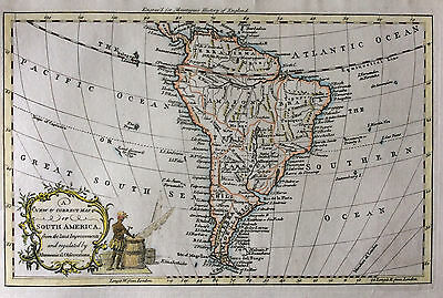 Map of South America c1765 After Bowen by Reynolds Original copperplate antique