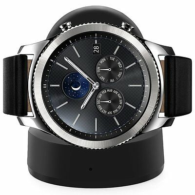 StrapsCo Samsung Smartwatch Gear S3, Frontier, Classic Wireless Charger in Black