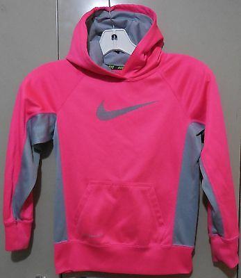 Youth Girls Nike Therma-Fit Pink and Gray Hoodie Pullover, Size Small