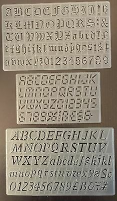 SET OF 3,20mm STENCILS DIGITAL ITALIC OLD ENGLISH UPPER LOWER CASE NO'S STENCIL