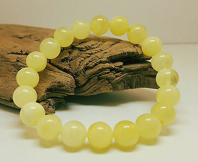 Bracelet Natural Baltic Amber Stone 9,6g Butterscotch Bead White Vintage C-339