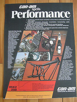 Can-Am Mx 2 250 Vintage Garage Shop Poster Rotax Bombardier Free Ship Us+Canada