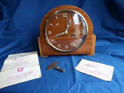 Vintage 50's Smiths 8-day striking mantel clock comes with original papers