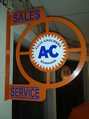 Allis Chalmers Ac Tractor Nostalgic Wall Flange Advertising Sign 2 Sided