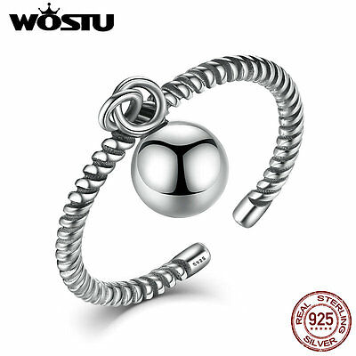 Wostu Ancient S925 Sterling Silver open Ring twist with ball Jewelry For Women