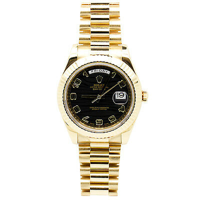 Rolex Day Date II Yellow Gold Black Wave Dial 41mm Mens Watch