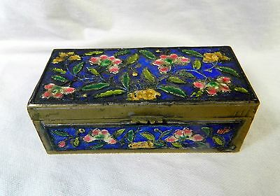 Vintage Chinese Cloisonne Brass Enamel Stamp Box - Pink Flowers, Blue Background