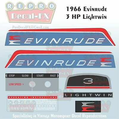 1966 Evinrude 3 HP Lightwin Outboard Reproduction 7Pc Marine Vinyl Decal 3602-03