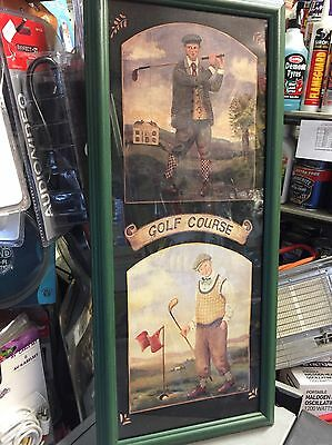 Antique Framed Print of 2 Golfers:Titled ''GOLF COURSE''