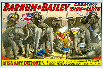 Reproduction Barnum & Bailey Vintage Circus Advertisement Art Poster Rare 1898