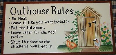 OuThOuSe Rules pRiMiTiVe VINTAGE BATHROOM SIGN Decor Chicken