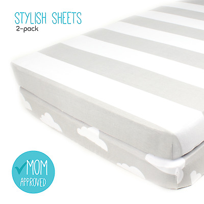 "Fitted Cotton Grey Pack n Play Sheet Set - 2 Pack ""Stripes & Clouds"" by Mumby"