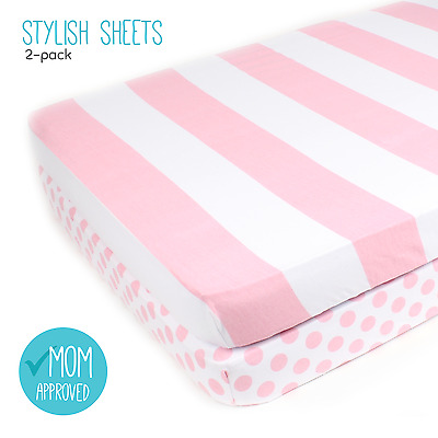 "Fitted Cotton Pink Pack n Play Sheet Set - 2 Pack ""Stripes & Clouds"" by Mumby"