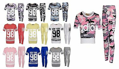 Girls Kids ADIOS Printed Top & Bottom Legging Tracksuit New York Set 2-13