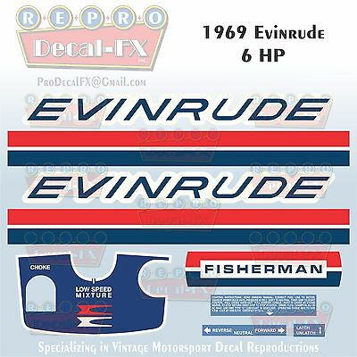 1955 Evinrude 5.5 HP Fisherman Outboard Reproduction 8 Pc Marine Vinyl Decals