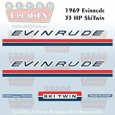 1969 Evinrude 33 HP Ski Twin Outboard Repro 7 Pc Vinyl Decals 33902-03, 33952-53