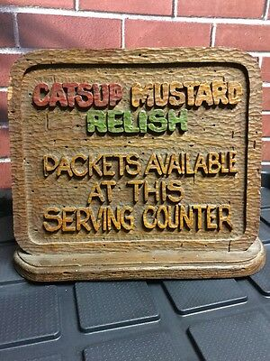 Vintage Roy Rogers Restaurant Fast Food Counter Top Sign Catsup Mustard Relish