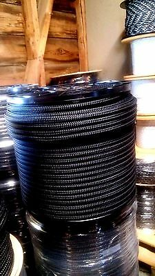 "1/2"" x 600 ft. Double Braid~Yacht Braid Polyester rope Spool.Black.Made in USA."