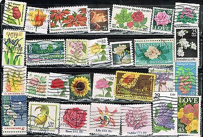 (12-601) 25+ Assorted  Flower Cancelled US  Postage sTamps