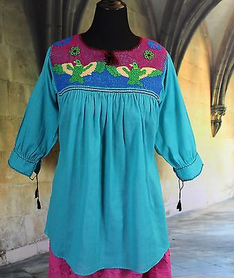 Multi-Color Hand Embroidery Blouse with Birds Chiapas Mexico Hippie Boho Cowgirl