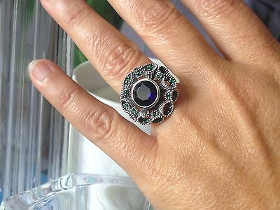 EXQUISITE ART DECO Style STERLING SILVER 925 SAPPHIRE & EMERALD SWIRL RING
