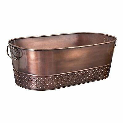 NEW MODA OVAL BEVERAGE TUB ANTIQUE COPPER PLATED Wine Champagne Bucket 52x29cm