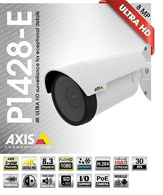 Axis P1428-E 4K Ultra HD Network Surveillance Camera 8.3 MP Day/Night H.264 JPEG
